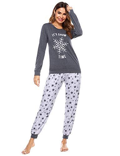 Doaraha Pijama Mujer Invierno Suave Cómodo Conjunto Pijamas Algodón Ropa de Dormir Manga Larga Camiseta y Pantalones Copo de Nieve de Navidad Estrellas Loungewear (A# Gris Oscuro, L)