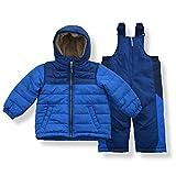 Arctic Quest Toddler Boys Color Block Snowsuit Fleece Lined Hooded Jacket and Bib Set, Blue, 2T