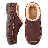 Zigzagger Men's Fuzzy Moccasin Slippers, Indoor/Outdoor Fluffy Slip On House Shoes