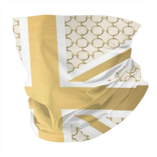 Jiayou J Unisex Variety Scarf UK Union Jack Flagge mit goldenen Reiter Stirnbändern Bandana Magic Stirnband Elastic Seamless Balaclava Headwear Kopftuch