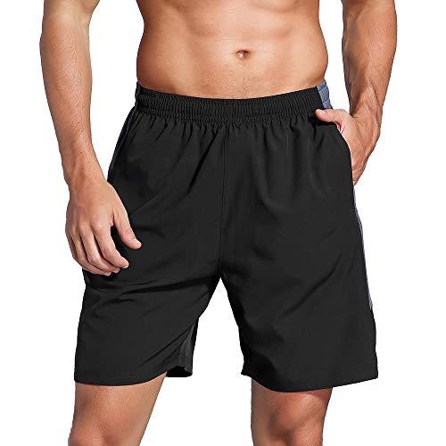 LUWELL PRO Herren Sporthose Kurz Hose Laufshorts Trainingsshorts Schnelltrocknend mit Rei/verschlusstasche/Jogging Hose für Workout,Laufsport,Fitness(007-Black Gray-L)