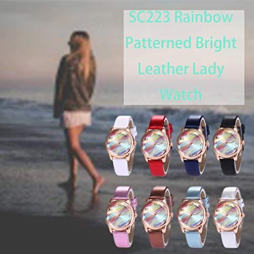 Hanone SC223 Rainbow Pattern Reloj de Cuero Brillante para Mujer Reloj de Cuarzo para Mujer de Moda Negro
