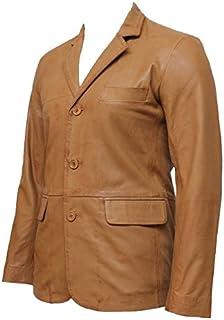 Mens Italian leather blazer jacket Tan 100% Genuine Leather BNWT