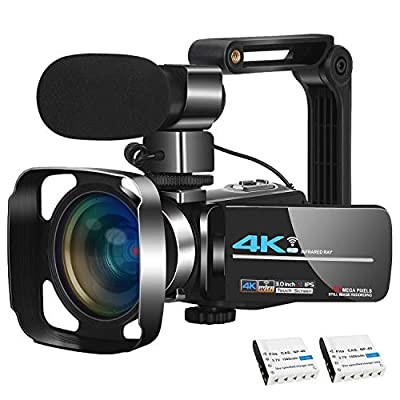 Video Camera Camcorder Vlogging Camera 4K Ultra HD Zoom Live Streaming Webcam Recorder YouTube Camera Video Recorder Handheld Stabilizer Remote Control, 16X Digital Zoom, 2 Batteries by KOMERY