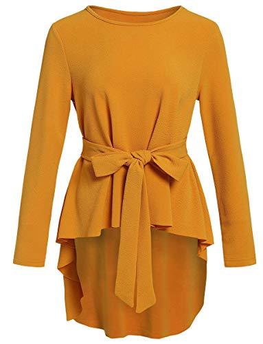 Romwe Women's Raw Hem Long Sleeve Belted Flare Peplum Blouse Shirts Top Yellow Solid M