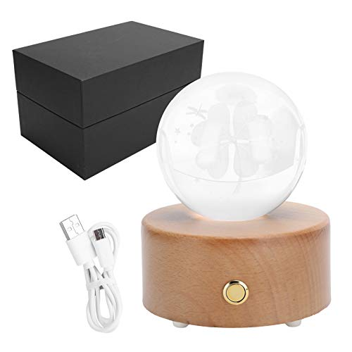 Jeffergarden Music Box, LED Crystal Ball Music Box With Colorful Light Wooden Musical Box Support Bluetooth Connection For Christmas Birthday Valentine'S Day Best Gift For Kids Friends Melody