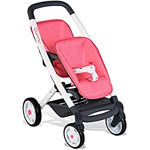 Smoby 253298 Pink Wheel Maxi-COSI & Quinny Twin Pushchair Baby Stroller | Stylish Dolls Buggy with Silent multidirectional Wheels & Ergonomic Handle | Ages 3   4
