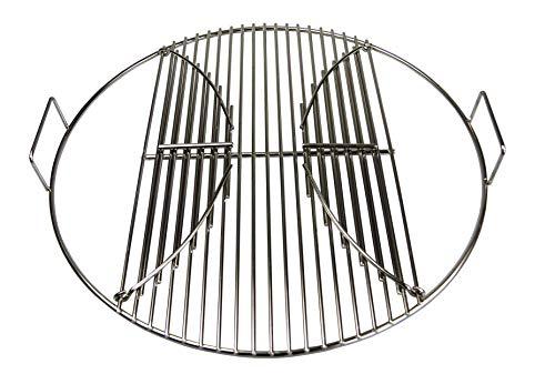 AKTIONA Edelstahl Grillrost 44,5 cm 54,5 cm klappbar mit Griffen passend für Weber Kugelgrill 47 57 Grill (Ø 54,5 cm passend für 57er Weber Kugelgrill)