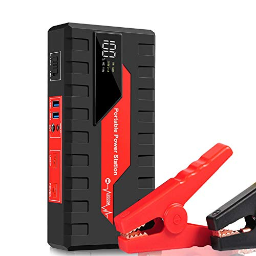 WCLOC Arrancador para Coche, Arrancador PortáTil para Coche 600a Pico 18000 Mah con Carga RáPida De 2 USB, Refuerzo De BateríA De Coche De 12 V, Cargador De BateríA De Coche