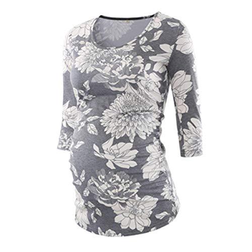 Blusa para Mujer, Ropa de Maternidad con Pliegues Laterales, 3 Cuartos de Manga, Camiseta de Embarazo, Camiseta, Ropa para Embarazadas, Camisetas para Mujeres-mi_L