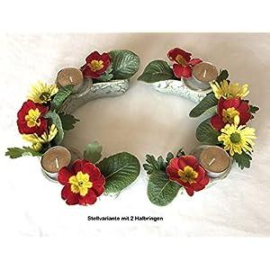 Blumenring-Set halb mit Kerzenhaltern grüne Effektglasur, schöne Dekoraton – ideales Geschenk