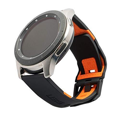 Urban Armor Gear Civilian Armband für Samsung Galaxy Watch3 45mm, Watch 46mm, Gear S3 Frontier 46mm & Classic 46mm, Watch Active 2 (44mm)- [Weiches Silikon Band, Edelstahlverschluss] - schwarz/orange