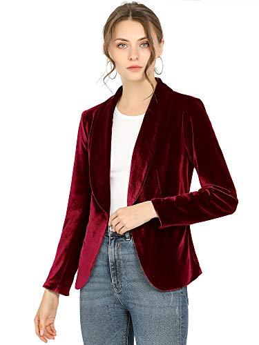 Allegra K Blazer De Terciopelo Cuello Chal Un Botón Sólido Abrigo De Oficina para Mujer Vino Rojo M