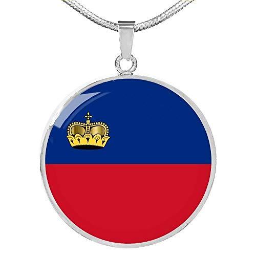 Express Your Love Gifts Liechtenstein Bandera Collar Acero Inoxidable Oro 18k Gold 18-22'
