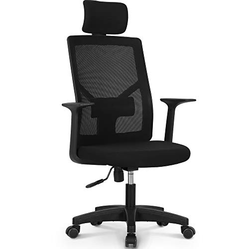 NEO CHAIR Office Chair Computer Desk Chair Gaming - Bulk Business Ergonomic Mid Back Cushion Lumbar Support Wheels Comfortable Black Mesh Racing Seat Adjustable Swivel Rolling Executive (Headrest)