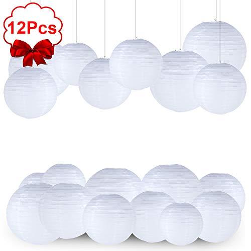 LISOPO Lampions Papierlaterne 12 Stück Weiße Papier Laterne Lampenschirm Lampion Runde Laterne Papierlampions zum Dekorieren von Leuchten