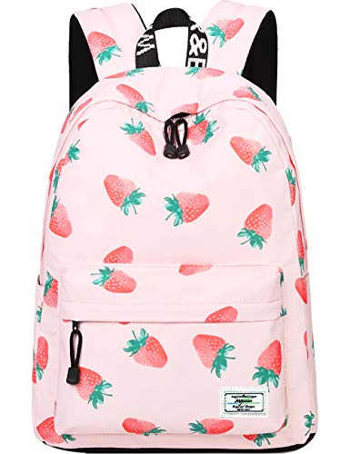 Backpack for Teens, Fashion Strawberry Pattern Laptop Backpack College Bags Shoulder Bag Daypack Bookbags Travel Bag by Mygreen (Pink)