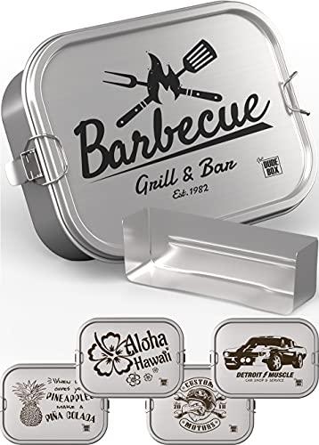 DUDE BOX Brotdose Edelstahl 1200ml   auslaufsicher & nachhaltig   Lunch Box Erwachsene mit Trennwand   Bento Box Butterbrotdose Brotbüchse mit Fächern (Barbecue)