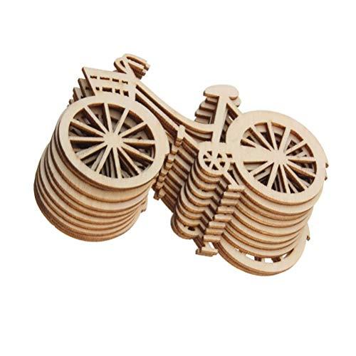 Clispeed 20PCS Fette di Legno Fai da Te Biciclette estetiche Ritaglio Mestieri abbellimento per la Decorazione di Fidanzamento della Festa Nuziale