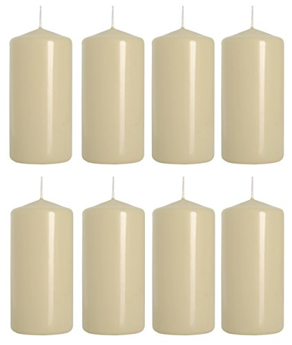 Pillar Candles, size 5 cm/10 cm, pack of 8, (Ivory)