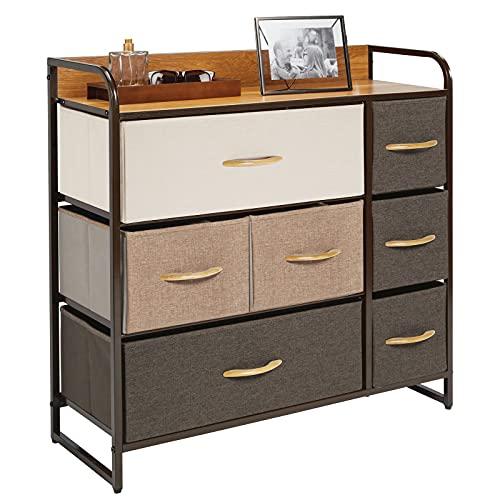 mDesign Cómoda para dormitorio con 7 cajones – Mueble con cajones ancho para el salón, la habitación o el pasillo – Cajonera de metal, MDF y tela para guardar ropa – varios colores y marrón