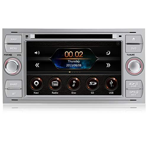AWESAFE Radio Coche 7 Pulgadas para Ford con Pantalla Táctil 2 DIN, Autoradio de Ford con Bluetooth GPS FM RDS CD DVD USB SD, Apoyo Mandos Volante, Mirrorlink y Aparcamiento (Plata)