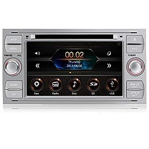 AWESAFE Radio Coche 7 Pulgadas para Ford con Pantalla Táctil 2 DIN, Autoradio de Ford con Bluetooth/GPS/FM/RDS/CD DVD/USB/SD, Apoyo Mandos Volante, Mirrorlink y Aparcamiento (Plata)