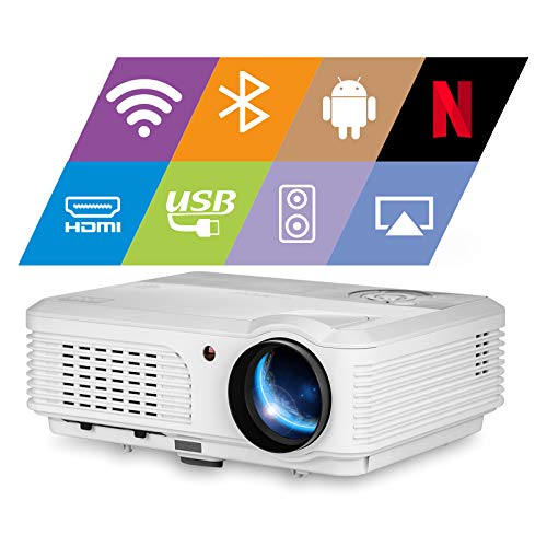 EUG Bluetooth Projector HD 4400 Lumen Wxga Android WiFi Home Cinema Projector Wireless Airplay Suport HD 1080P Compatible with HDMI USB VGA RCA TV Stick PS4 DVD Smartphone Laptop