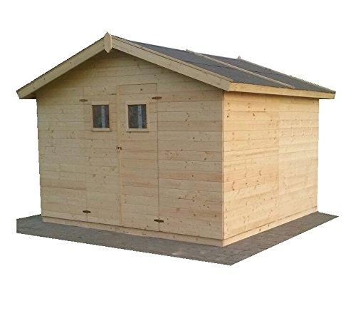 CADEMA Gartenhaus MADRID 19mm aus Holz, inkl. Fußboden, 3,3m x 3,3m x 2,3m (3x3m)– Gerätehaus