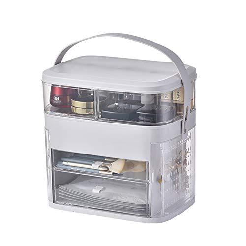 Maquillaje Joyero Organizador Niña,acrílico Sostenible Portable Organizador Joyas Estante De Maquillaje Ideal Para Anillos Aretes Cosméticos Almacenamiento De Pantalla Gris 30x29.5x21cm(12x12x8inch)