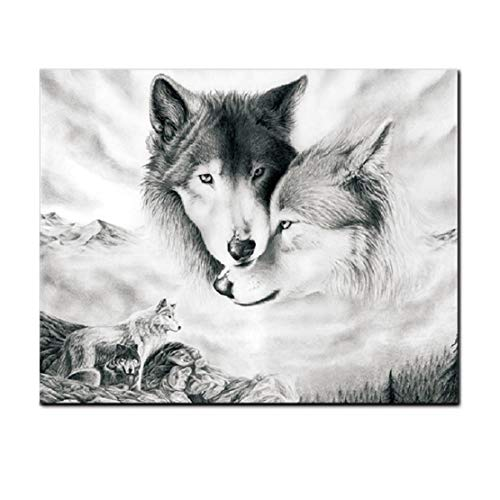 Wolf Wall Art Canvas Print Poster Black and White Wolves Photography Art Decor for Living Room Bedroom (Unframed, 12x16 Inches)