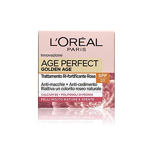L'Oréal Paris Age Perfect Golden Age Crema Viso Giorno Anti-Età, per Pelli Mature con SPF 20, Nutre la Pelle in Profondità - 50 ml, Confezione da 1