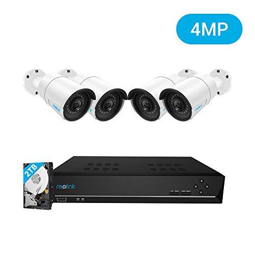 Reolink 4MP Kit Videosorveglianza PoE, 8CH 2TB NVR con 4X 4MP Telecamera Esterno IP PoE Impermeabile, Sistema di Sorveglianza con Visione Notturna di 30 Metri, Registrazione 24 7, RLK8-410B4-4MP