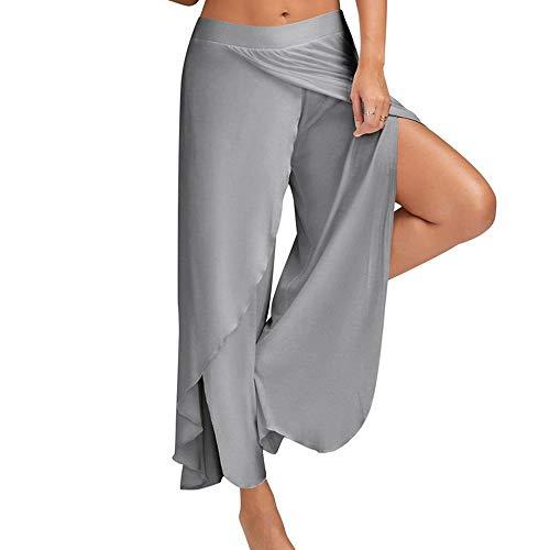 Bebling Pantalones de harén para Mujeres Pantalón de chándal con Abertura Lateral Hippie Yoga Chándal de Playa Gris Claro, Mediano