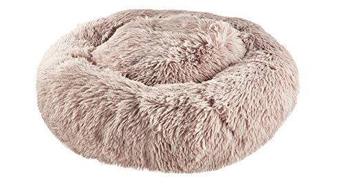 Cama para perros y gatos, cama de piel de polipropileno, antideslizante, se puede lavar a máquina, color marrón (60 x 60 cm)