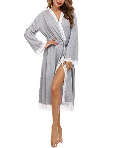 Doaraha Nachthemd Damen Sexy Lange Morgenmantel Spitze, Bademantel mit Gürtel Langarm V-Ausschnitt Sexy Nachtwäsche für Frauen Grau S