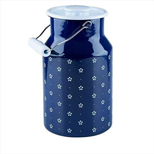 Riess, 0311-073, Milchkanne mit Deckel 2,00 L, COUNTRY - DIRNDL, Höhe 23,2 cm, Inhalt 2,0 Liter, Emaille,blümchenblau, blau/weiß