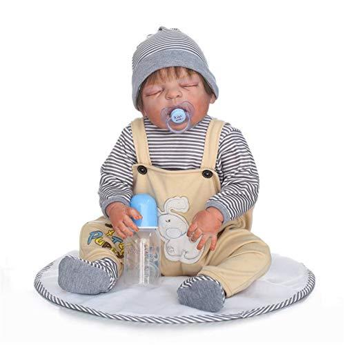 HWZZ Rebirth Doll 57Cm Reborn Doll Baby Kleinkind Baby Geschenk Handgemachte Kindersicherung 3/4 Silikon Gliedmaßen Und Baumwolle Gefüllte Körper Schöne Lebensechte,57cm