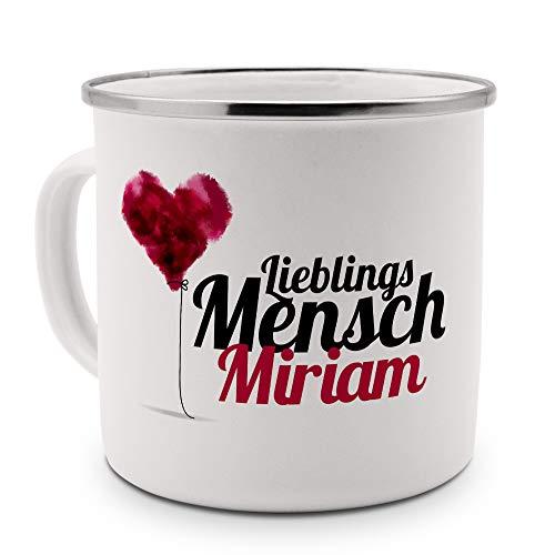 printplanet Emaille-Tasse mit Namen Miriam - Metallbecher mit Design Lieblingsmensch - Nostalgie-Becher, Camping-Tasse, Blechtasse, Farbe Silber