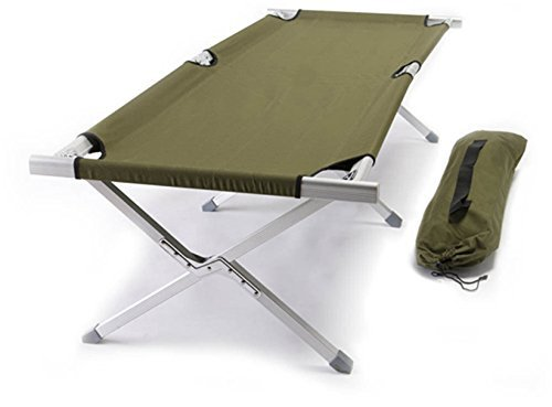 World Outdoor Products Military Style Aircraft Grade Anodized Aluminum Frame Camping Cot Featuring OD Green 600 D Washable and Mildew Resistant Polyester Fabric.