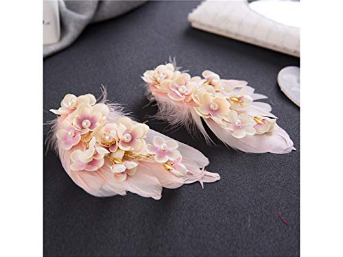 Creativo Pedazo de flor de plumas Tocado lateral Clip Nupcial Tiara Pinza de pelo Accesorios para el...