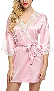Handaxian Ropa Interior y Pijamas Nuevas Batas Seda Vestido de Encaje de Seda Babydoll Camisón Medias Mangas Cuello de Pico Pijamas Medio Rosa L