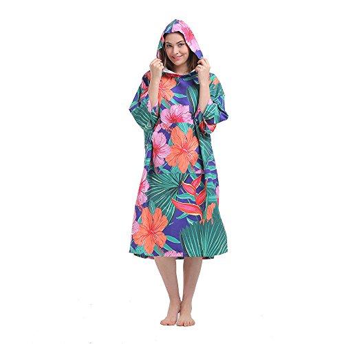 Plażowy szlafrok do surfingu, lekki kombinezon, zmiana odzieży, ponczo z kapturem, jeden rozmiar pasuje dla wszystkich Peony-printing Jeden rozmiar