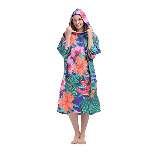 HITURBO Womens Beach Surfing Swimming Robe, Light Weight Wetsuit Changing towel poncho with hood, Peony-printing, One Size Fit All