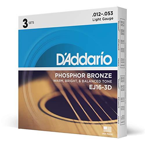 D Addario EJ16-3D Phosphor Light -Cuerdas para guitarra acústica (.012-.053) tensión baja (Pack de 3)
