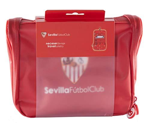 Sevilla Fútbol Club Neceser de Viaje - Producto Oficial del Equipo, con Percha para Colgar y Varias Alturas para Guardar Artículos de Aseo