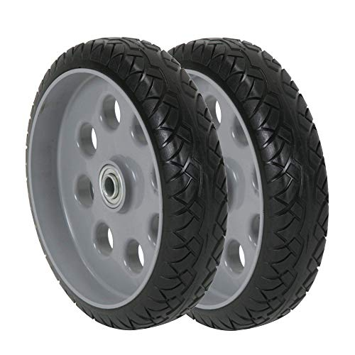 CoscoProducts COSCO 10 Inch Low Profile Replacement Wheels for Hand Trucks, Flat-Free, (Gray, 2 Pack)