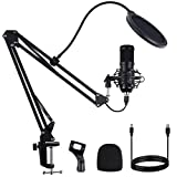 USB Streaming Microphone, FYP Professional Condenser Microphone Set with Adjustable Scissor Arm Stand Shock Mount Computer Mic for Gaming, Chatting, Studio Recording, Dubbing, Podcasting (Black)
