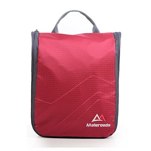 Backpack Iluminación Impermeable Viajes Wash Bag/Outdoor/Kit de Viaje Bolsas de Ropa para Hombres y Women-Rose Rojo