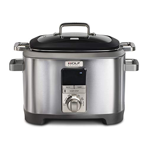 Wolf Gourmet Programmable 6-in-1 Multi Cooker with Temperature Probe, 7 qrt, Slow Cook, Rice, Sauté, Sear, Sous Vide, Stainless Steel, Silver Knob with Black Knob Accessory (WGSC120SR)